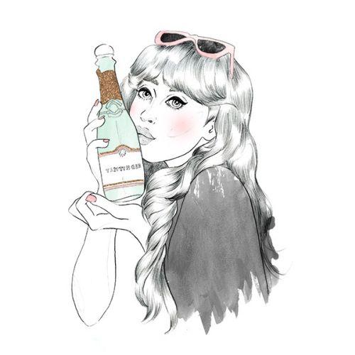 Illustration of a lady holding a bottle