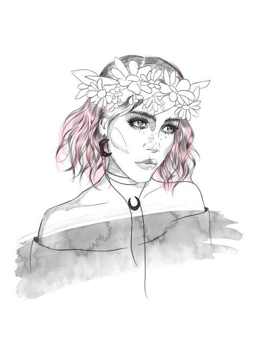 Lady wearing flower crown drawing