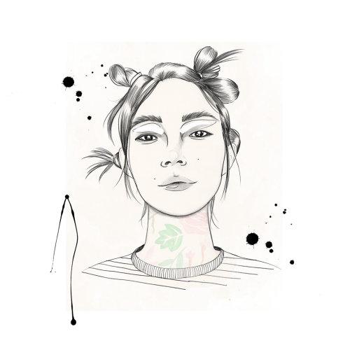 Lady face illustration by Victoria Skovran