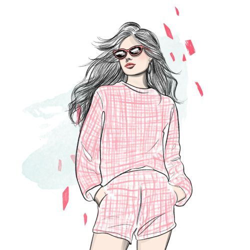 Beautiful lady fashion sketch