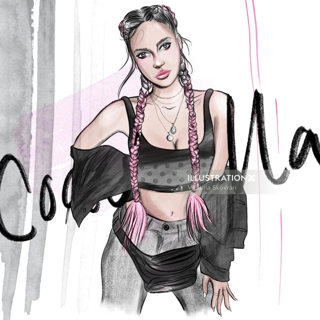 Fashion illustration of woman in coachella style