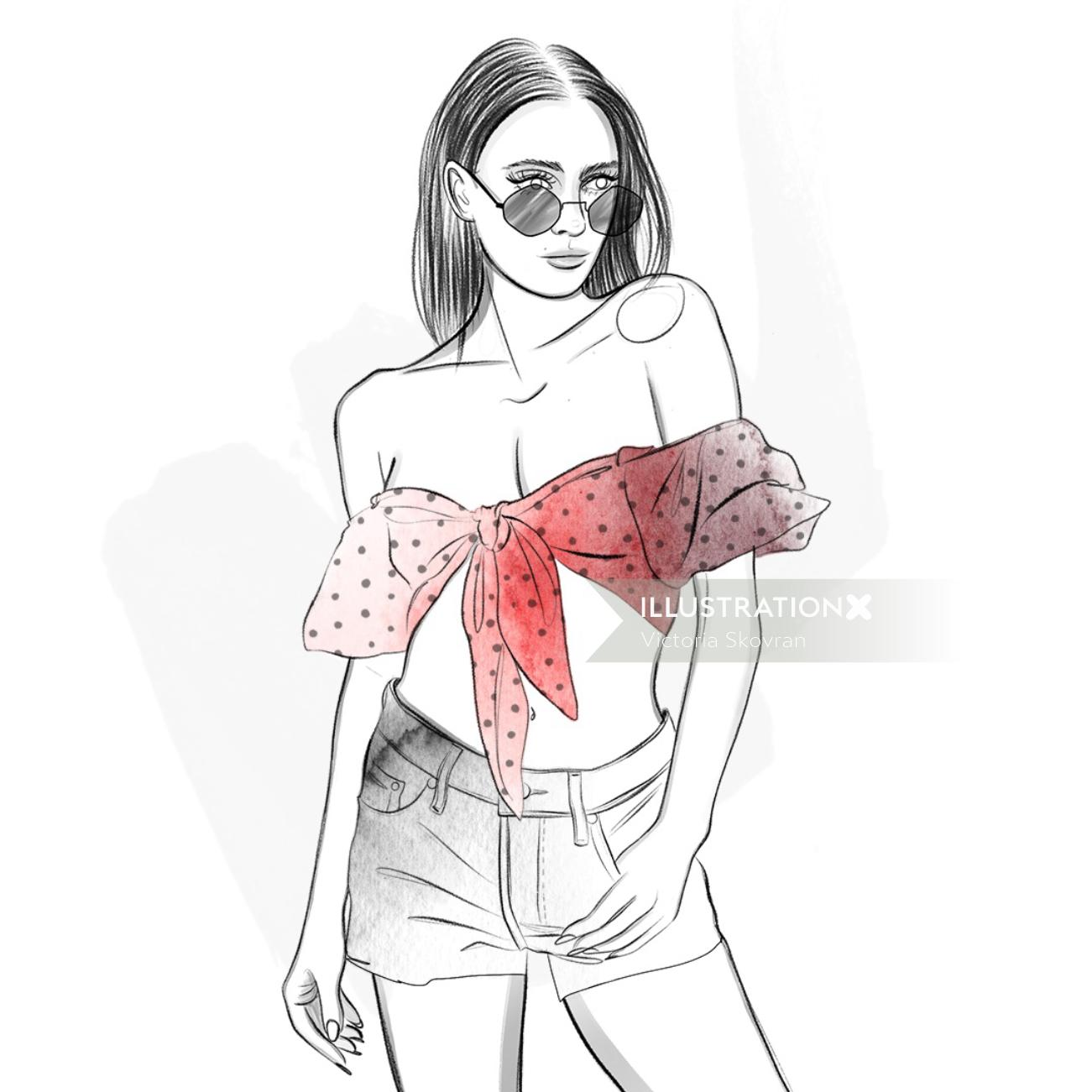 Line drawing of a fashion lady
