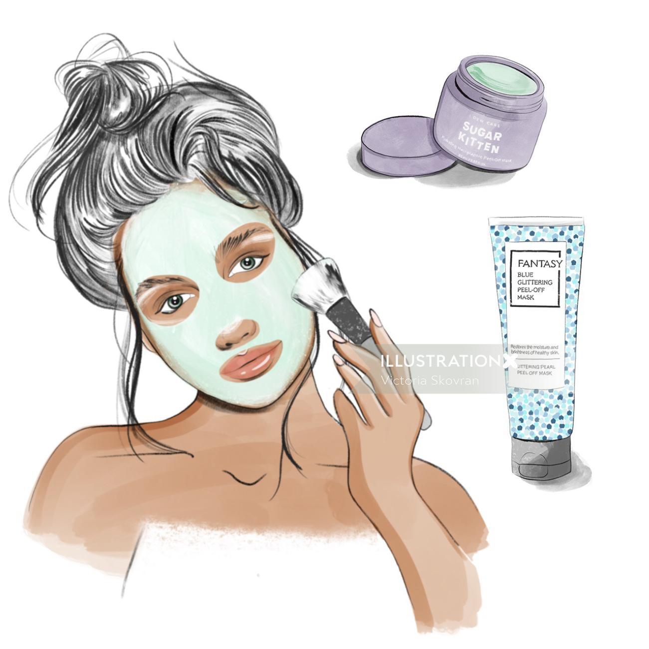 Woman applying makeup illustration