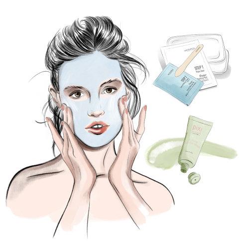 An illustration of woman applying facial