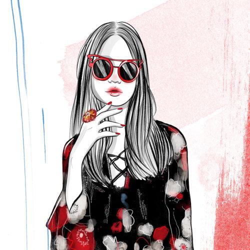 Digital sketch of a lady in floral dress