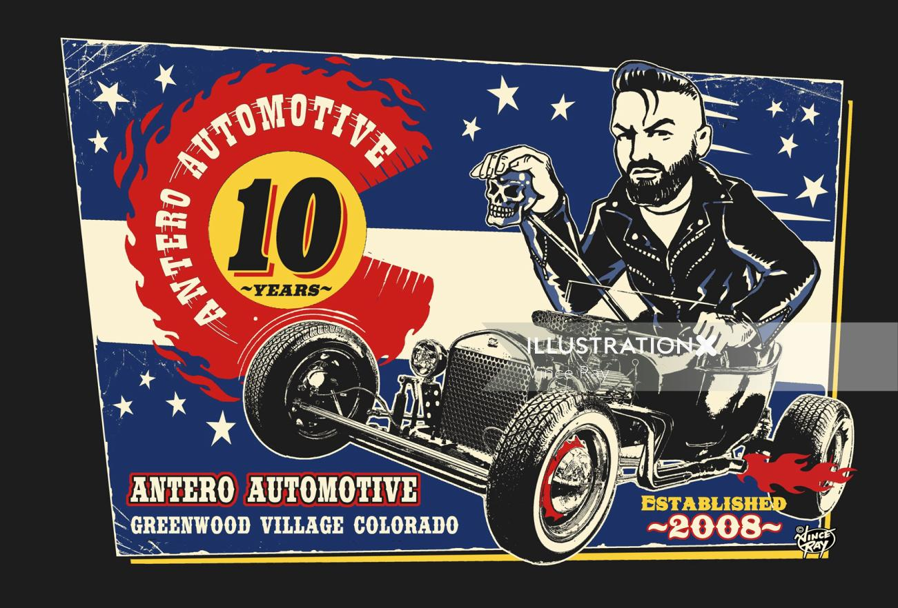 Advertising illustration of antero Automotive