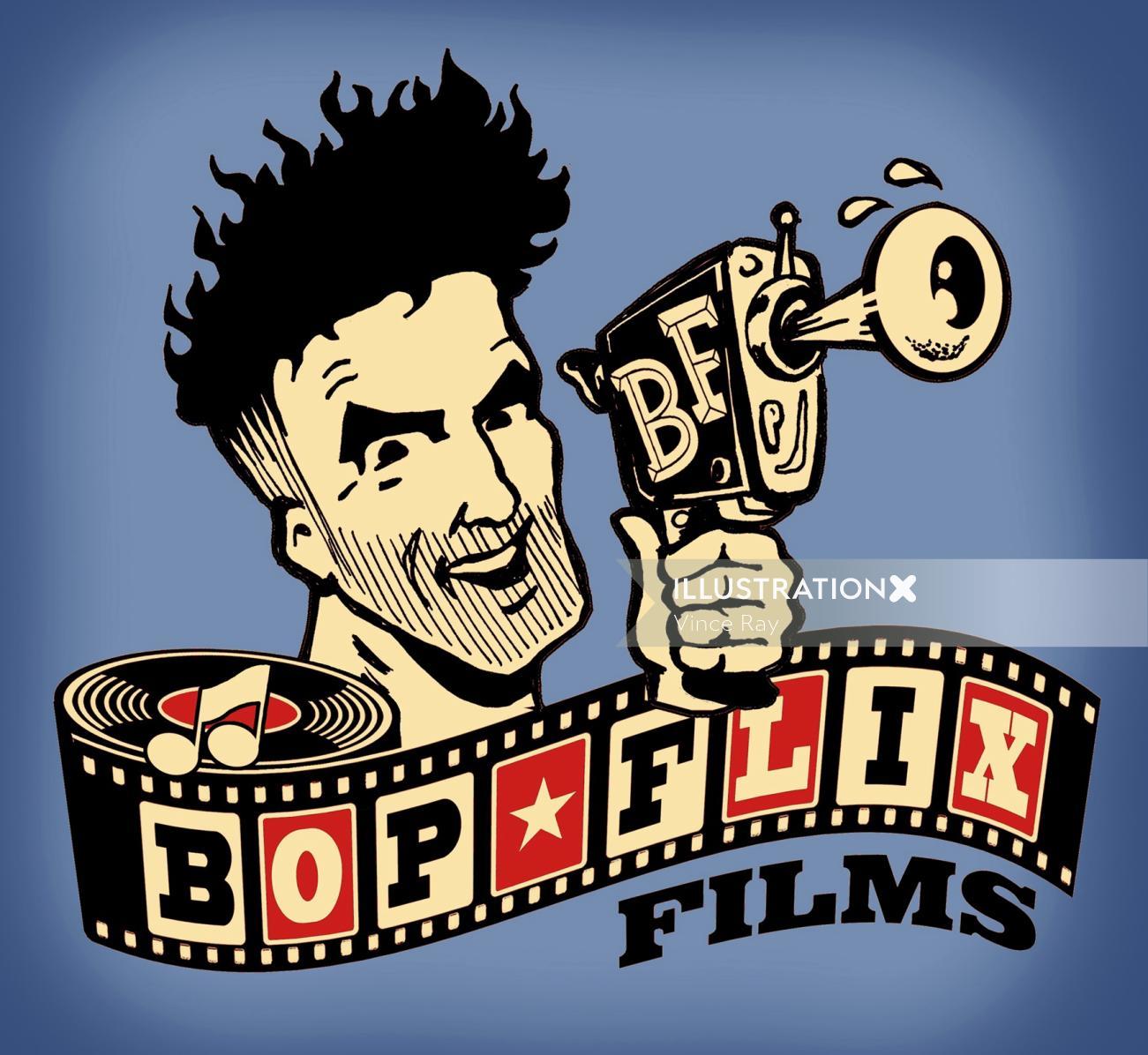 Graphic poster design of bop flix films