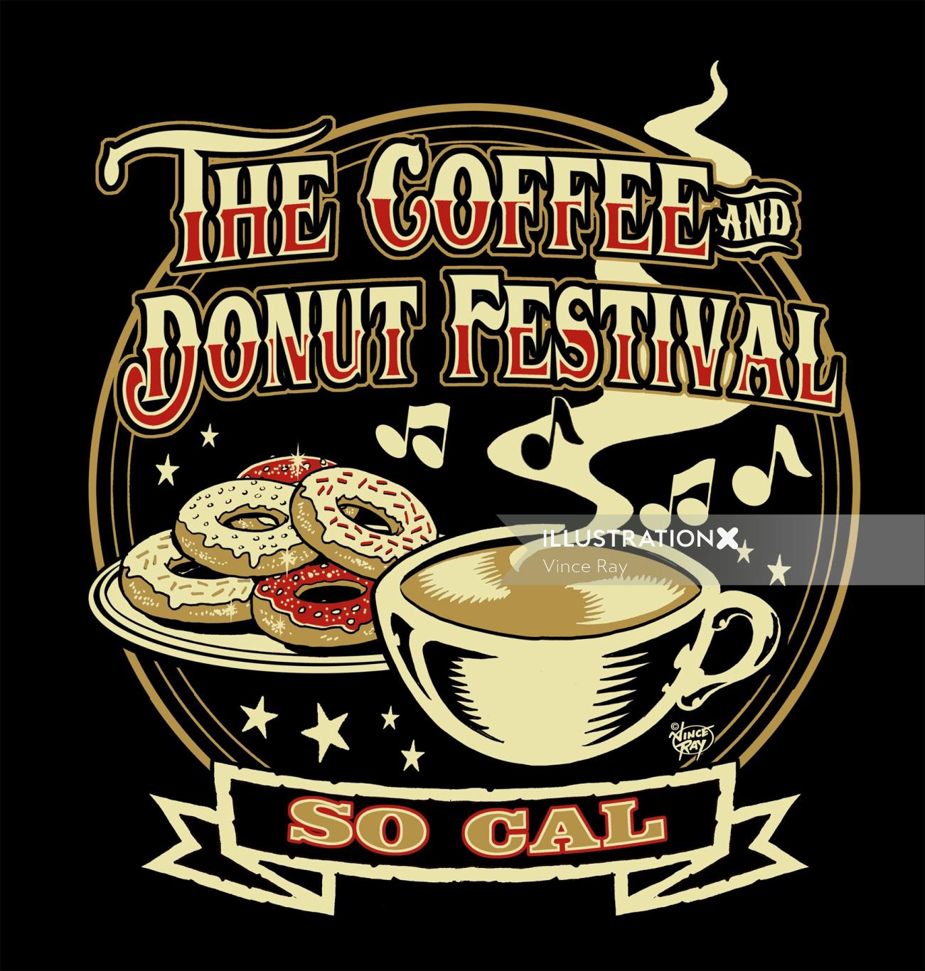 The coffee and donut festival so cal typography