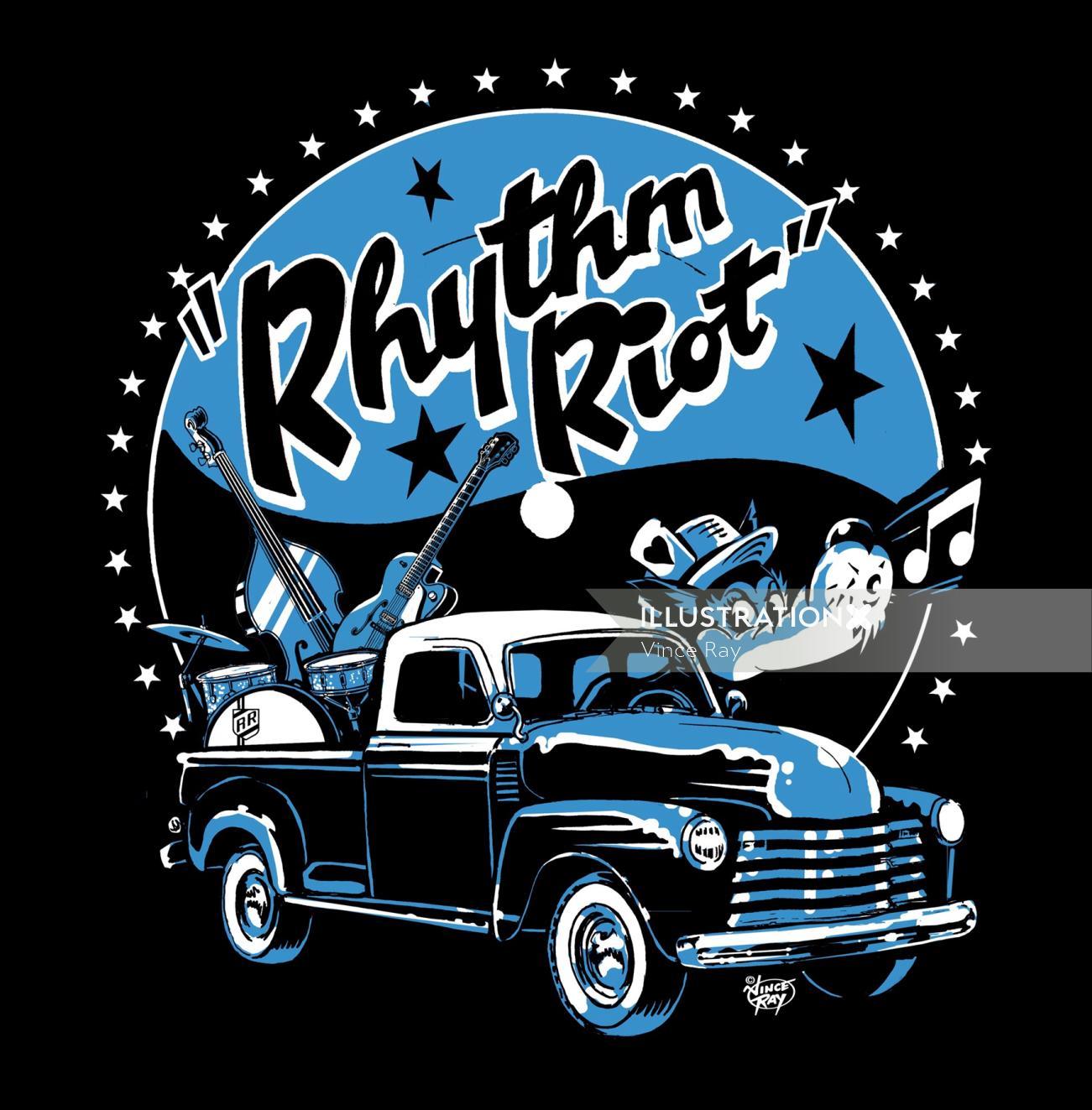 Graphic design of rhythm riot