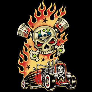 Low brow art of a car with fire by Vince Ray