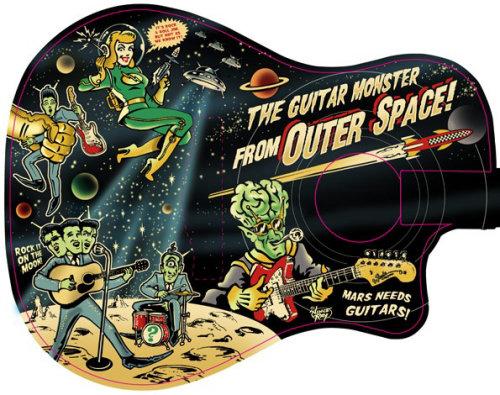 Pop illustration of the guitar monster