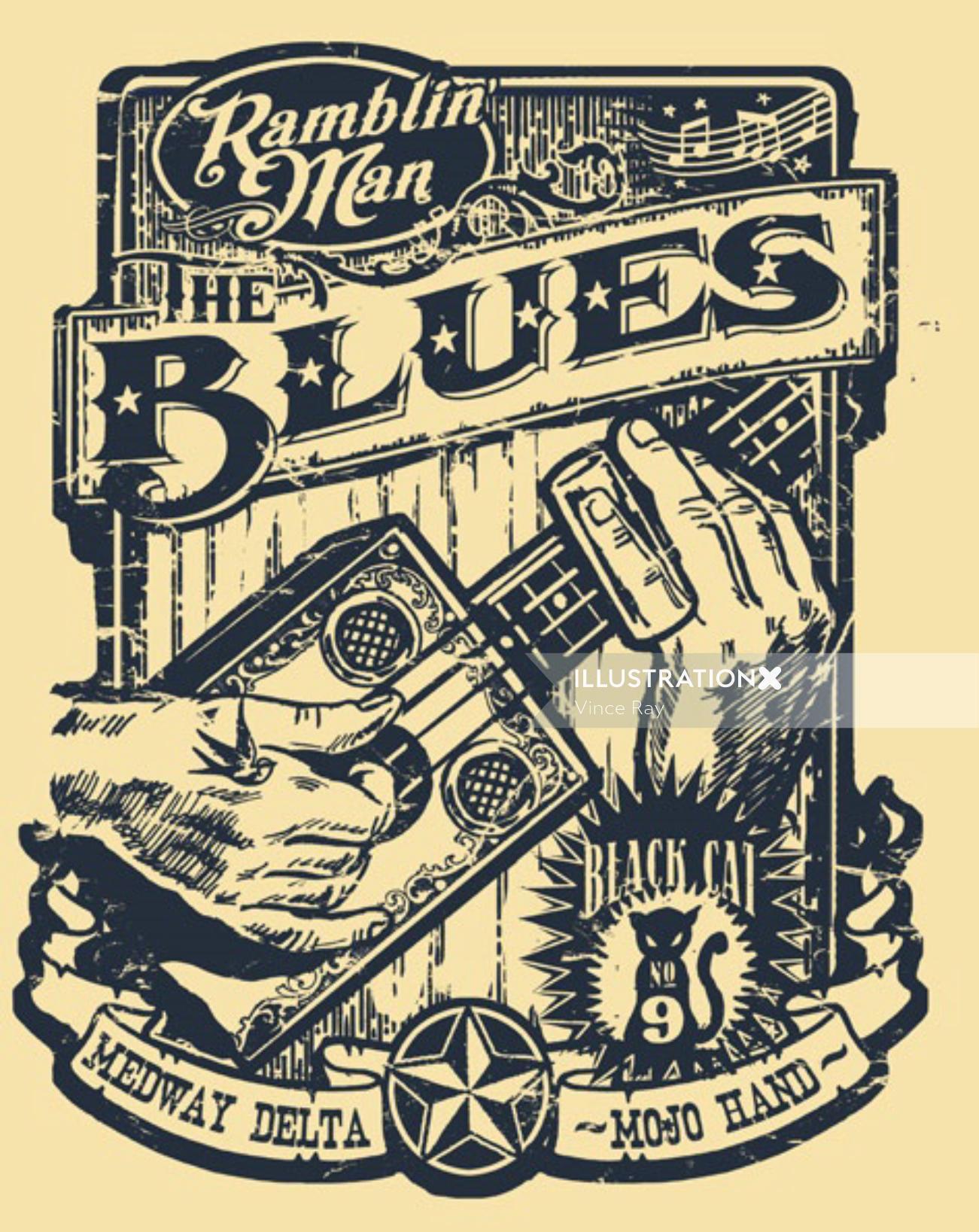 Retro poster design of Ramblin' Man Fair Blues t shirt