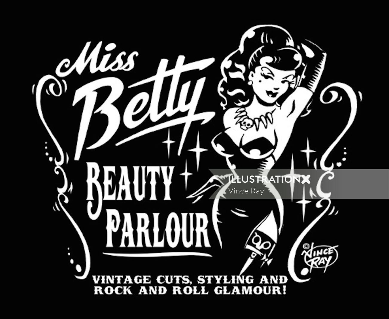 Miss belly beauty parlor advertising illustration