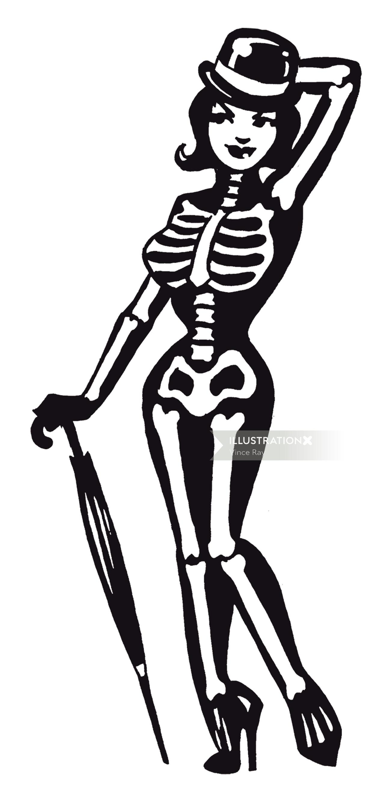 Woman with skelton dress