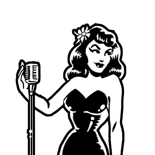 Black and white Retro SInger