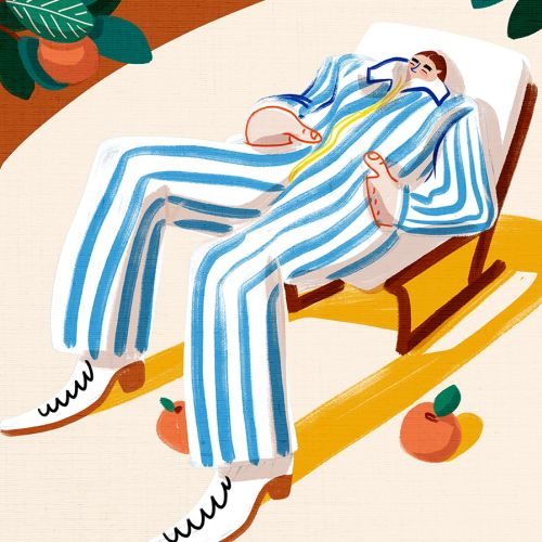 Fashion illustration of blue line pool suit