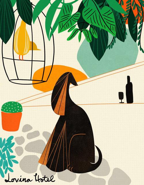 dog, midcentury, shapes, minimal, flat, funny, bold, bright, humorous, character, weird, strange, fu