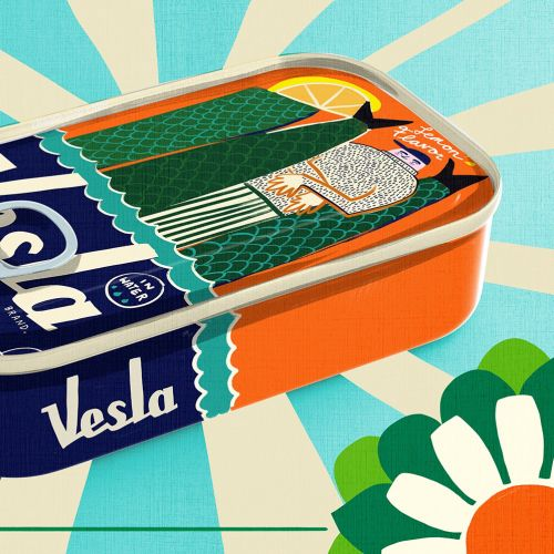 Digital painting of vesla tiffin box