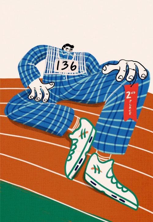 Sports, running, track, olympics, winner, funny, bold, bright, humorous, character, weird, strange,