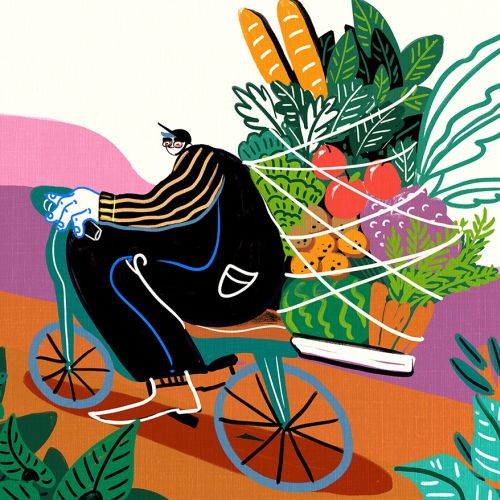 Meal, delivery, uber, fresh, bicycle, produce, funny, bold, bright, humorous, character, weird, stra