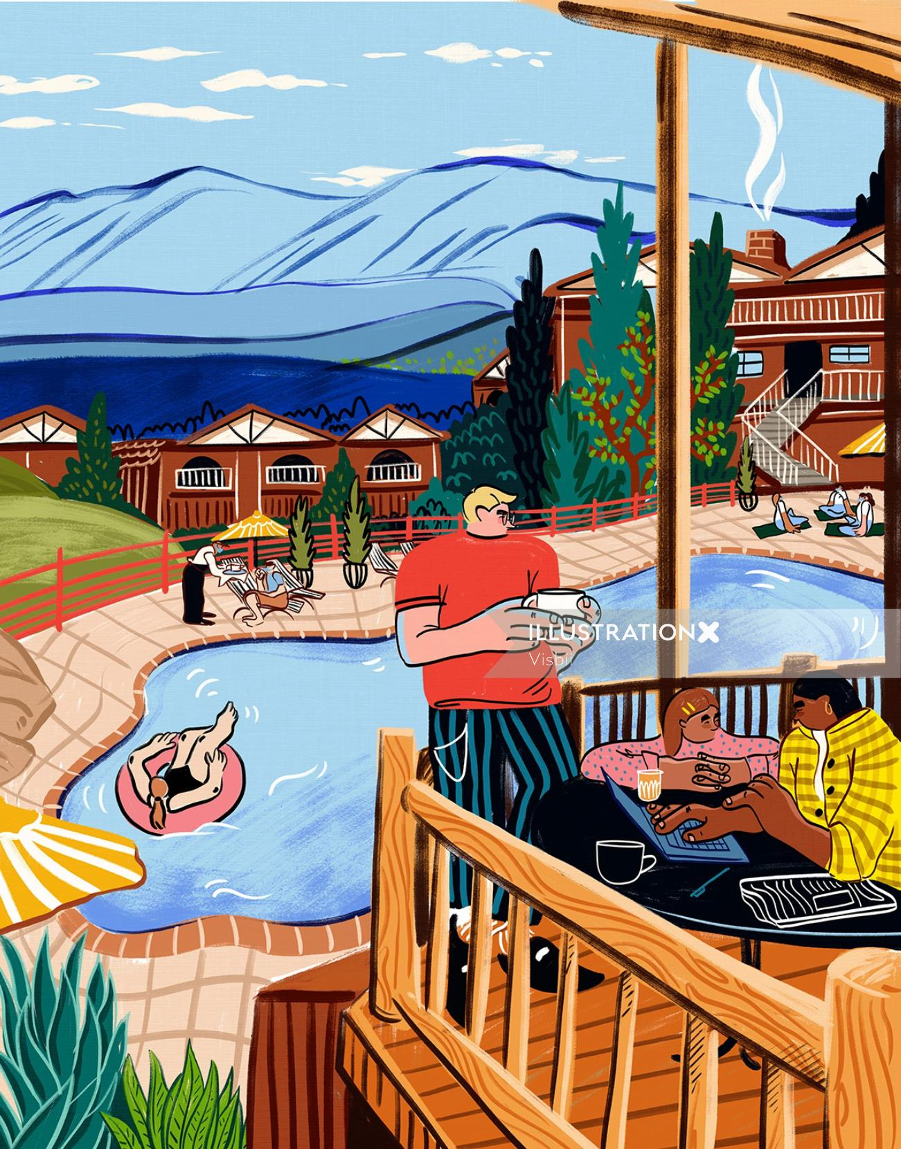 cabin, forest, family, travel trends, pool, vacation, funny, bold, bright, humorous, character, weir