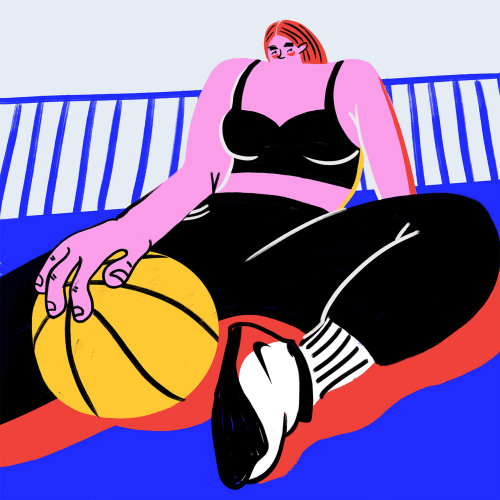 Women doing fitness exercise with basketball