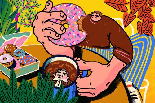Cartoon fat man having donuts