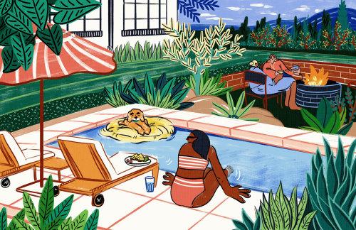 Cartoon people relaxing near swimming pool