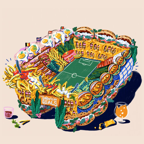 Editorial of football stadium made of sandwiches