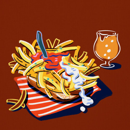 Cheese French fries food and drink illustration
