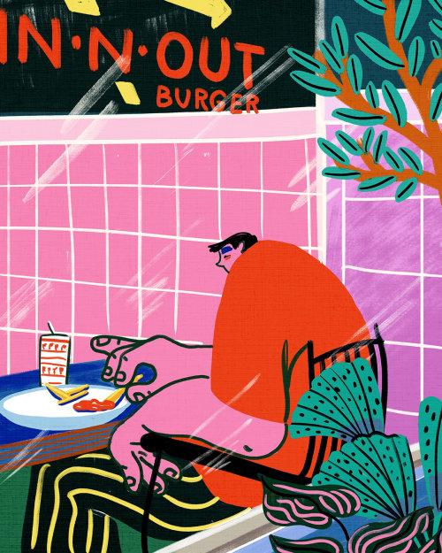 Cartoon big-fat man eating French fries