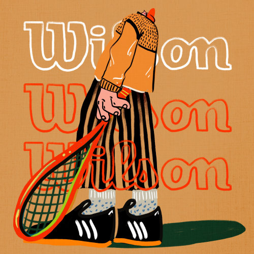 Advertising illustration of Wilson soft tennis ball