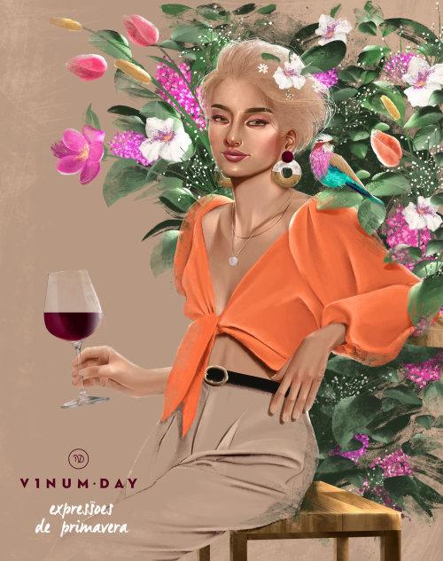 Illustration publicitaire pour la marque de vin