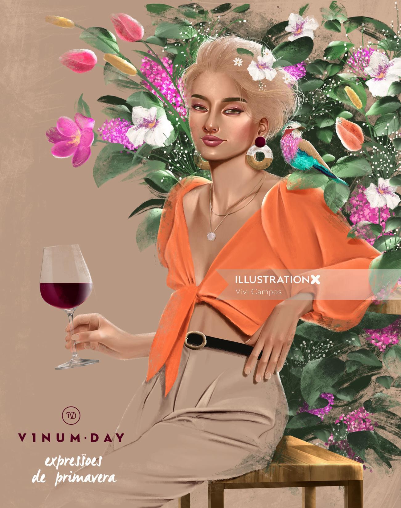 Advertising illustration for wine brand