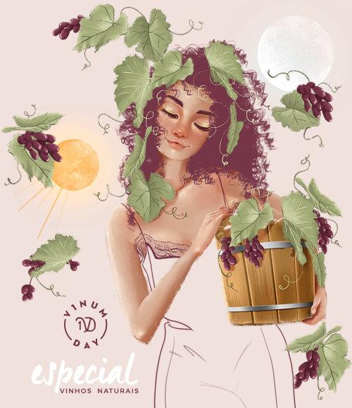 Illustration publicitaire pour vin naturel vinumday