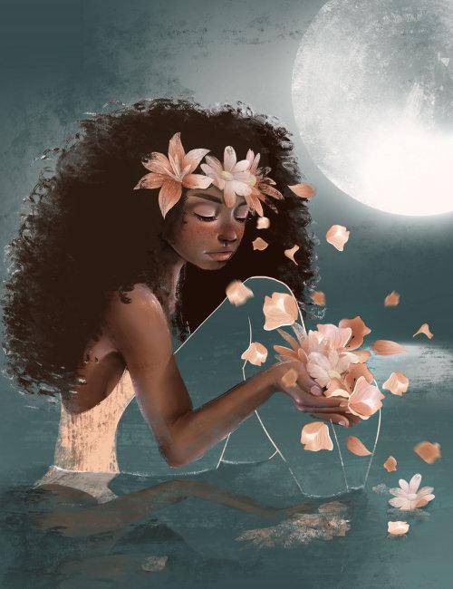 illustration de femme florale