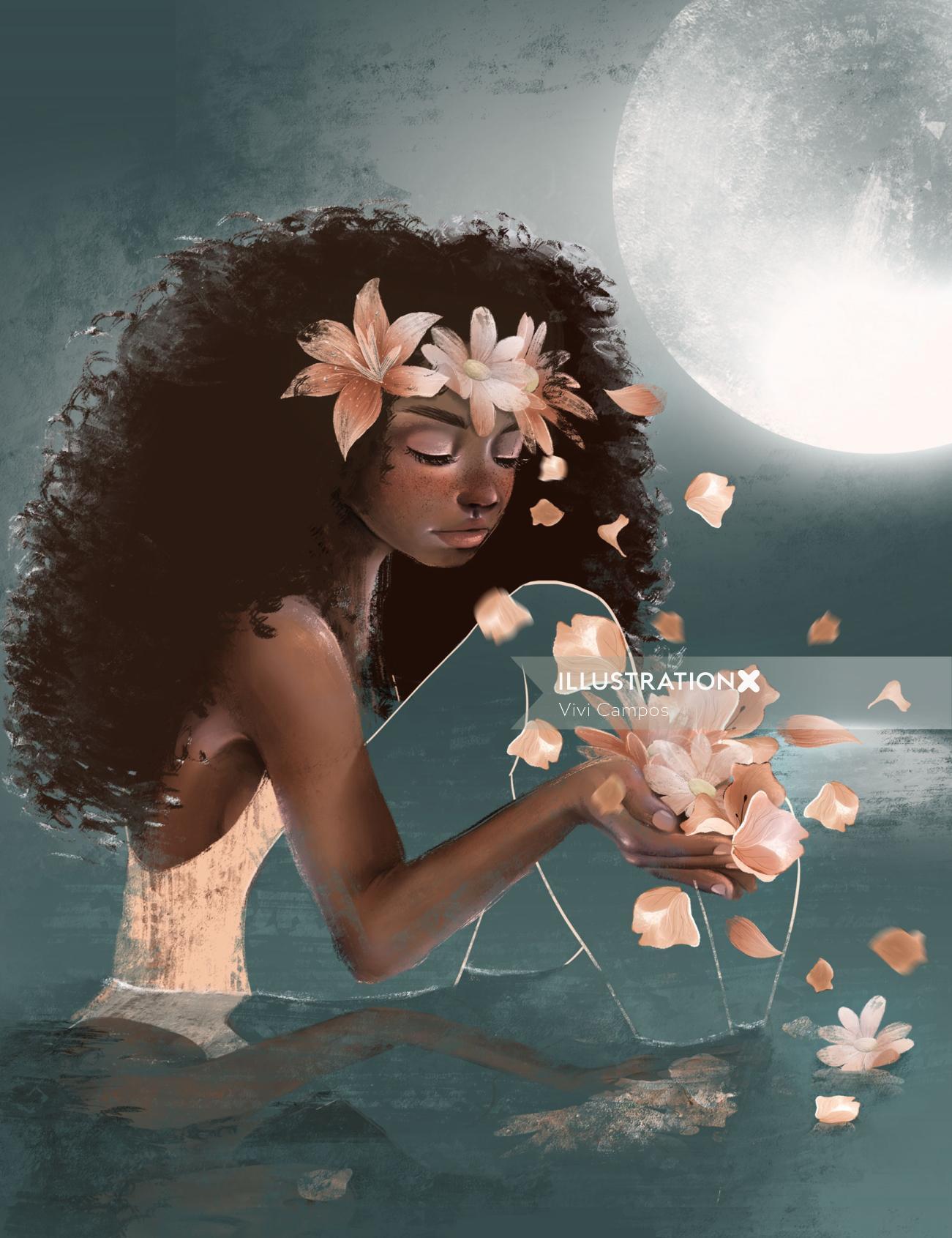 floral woman illustration