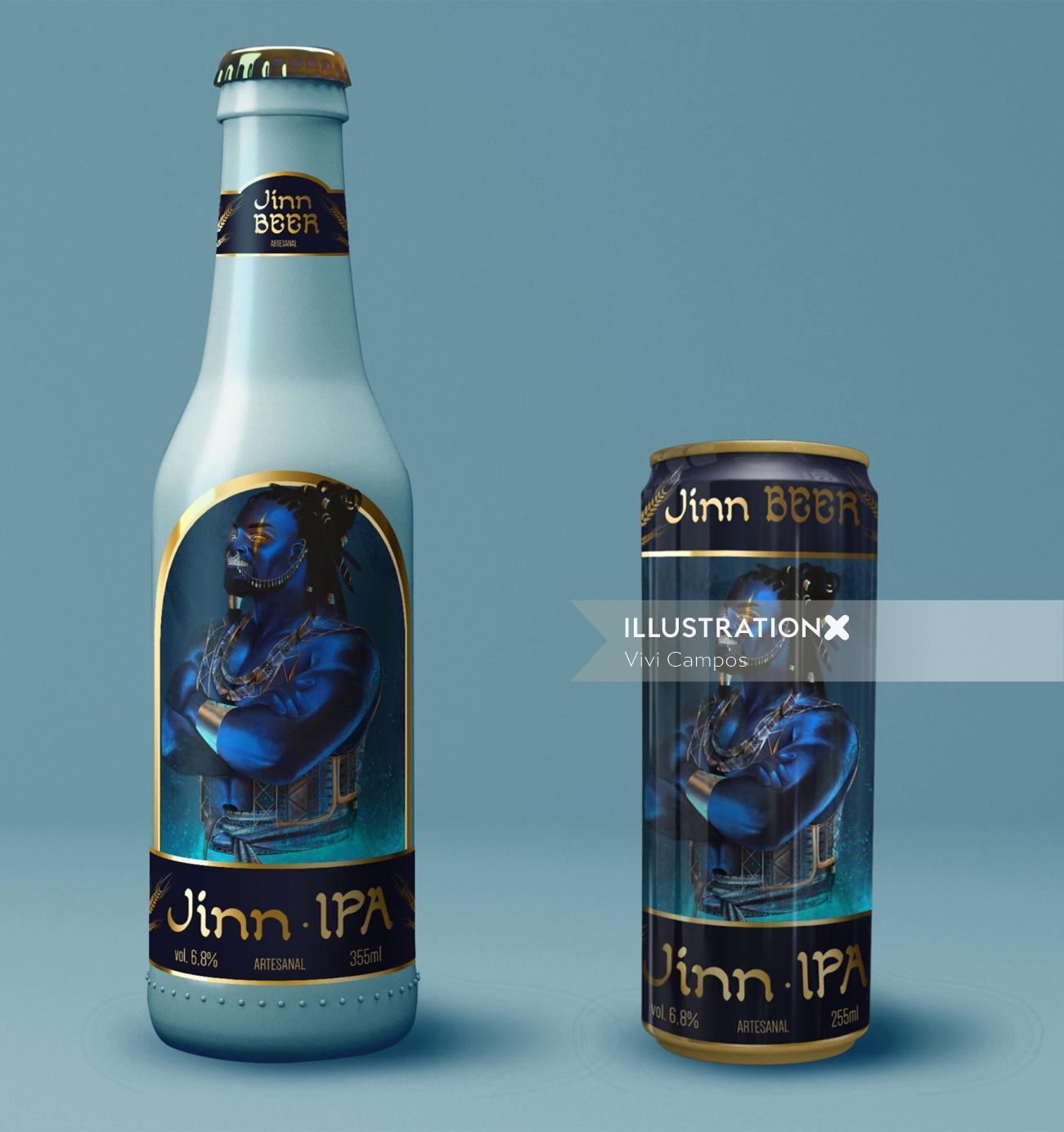 mythological character packaging illustration for beer brand