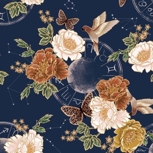 floral print design with digital illustration