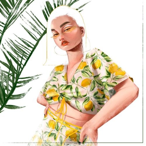 lemon print illustration for clothing