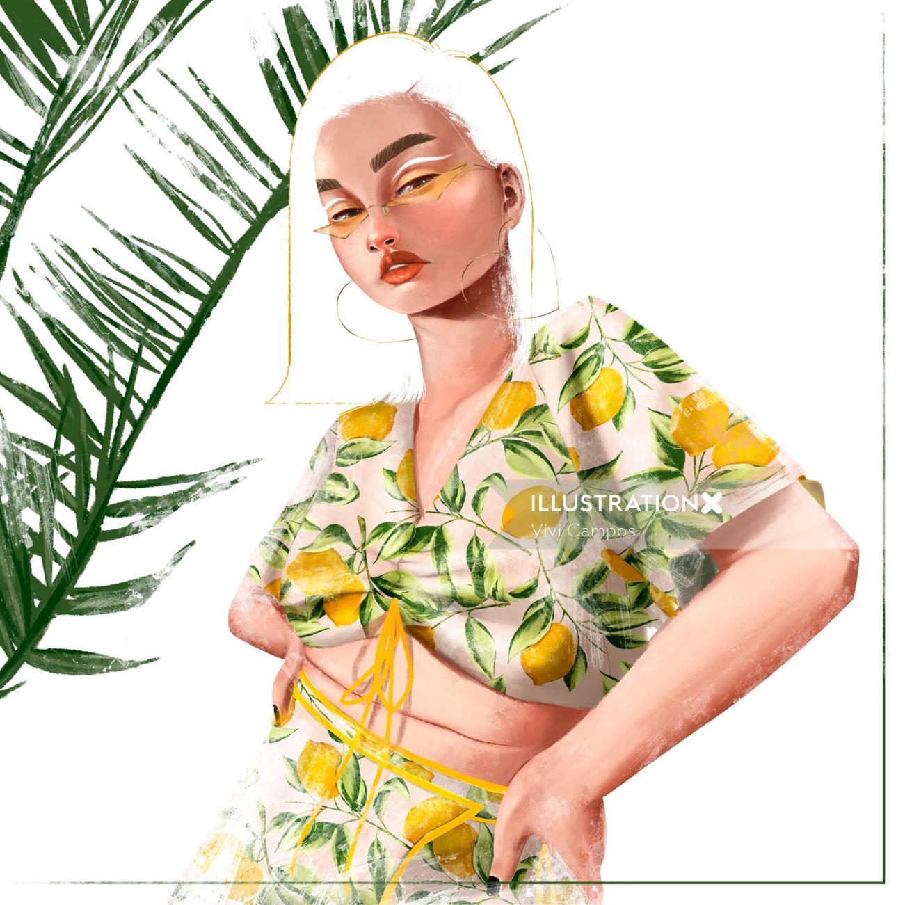lemon print illustration for clothing