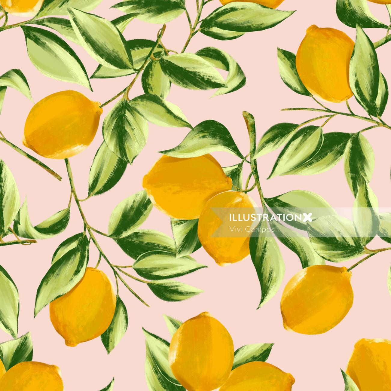 Lemon print illustration