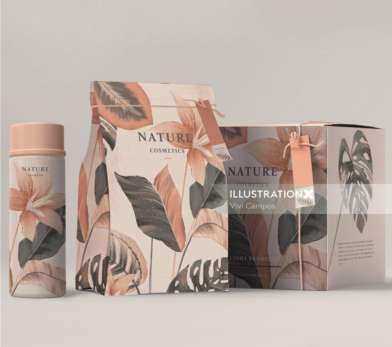 beauty product packaging illustration