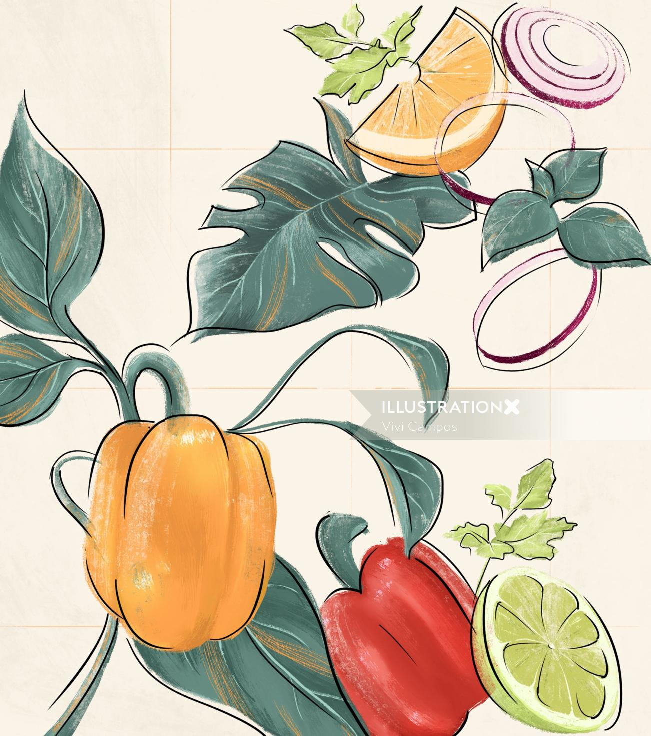 Nature fruits and vegetables