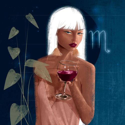 Fille de mode avec du vin