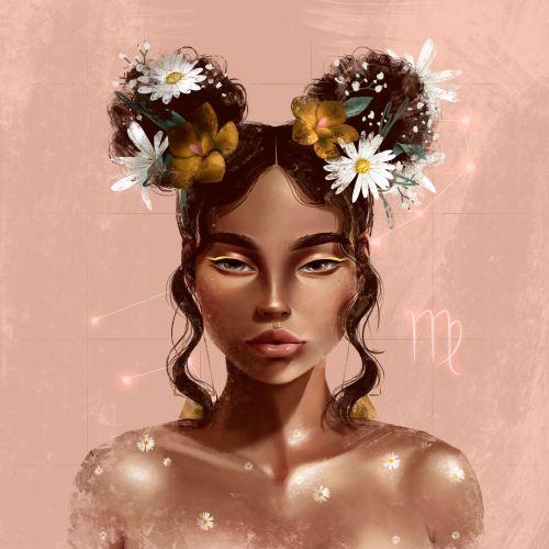 beautiful woman with virgo sign illustration