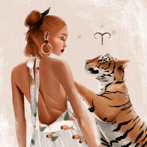Conception des personnages de femme avec tigre