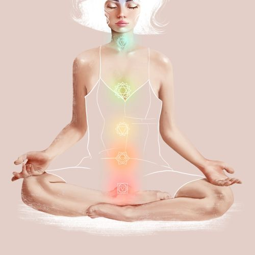 Character design of woman meditation