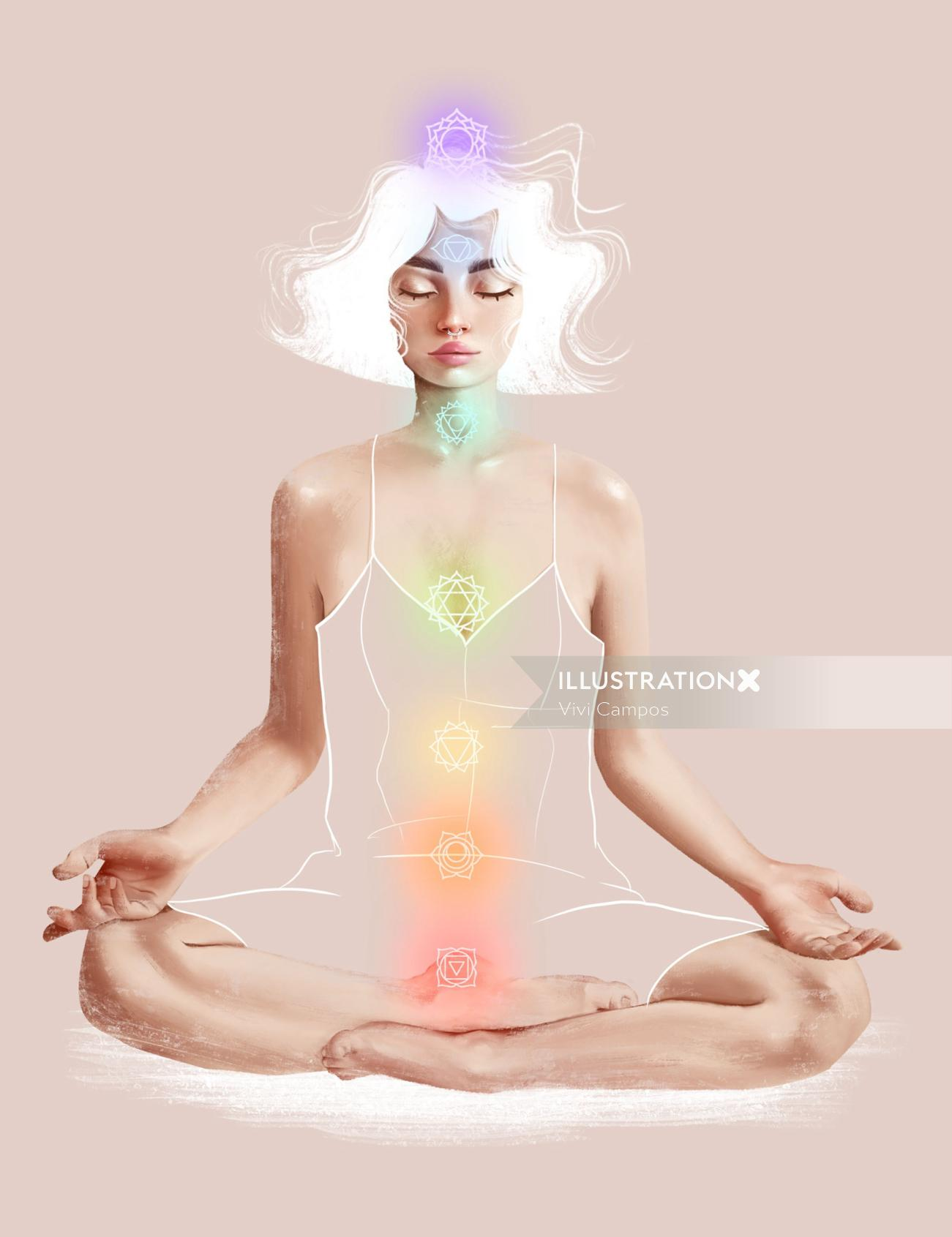 Character design of woman meditation