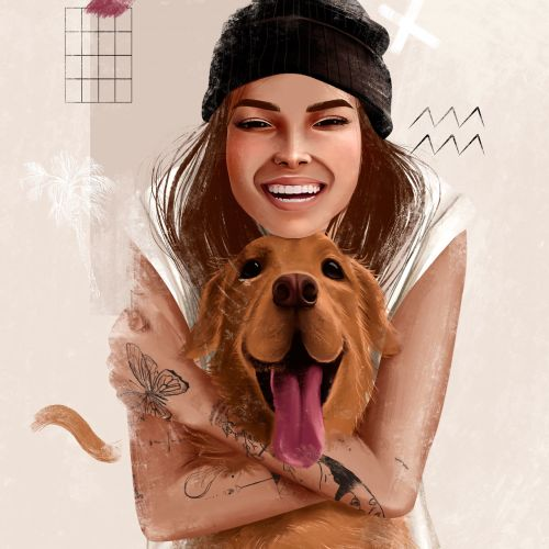 Character design Smiley woman with dog